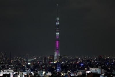 文京シビックセンターから見た東京スカイツリーのピンクリボン