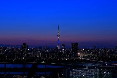 残照と東京スカイツリー