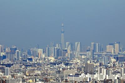 横浜ランドマークタワーから見た東京スカイツリー