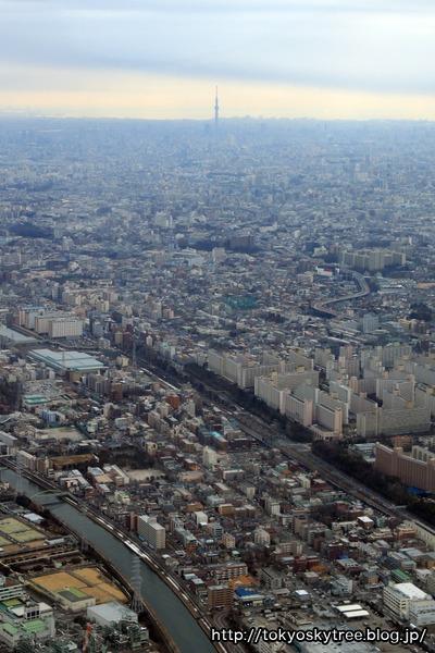 高島団地と東京スカイツリーの空撮