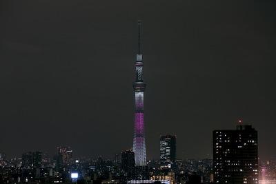 東京スカイツリー特別ライトアップ「ピンクリボン」