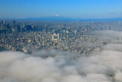 雲海と超高層ビル群と富士山
