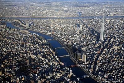 東京スカイツリー隅田川の空撮