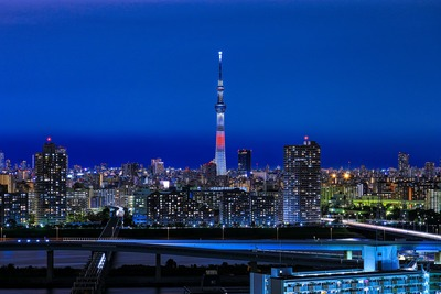 日本国旗をイメージした特別ライティング