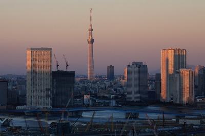 フジテレビの球体展望室「はちたま」から見た東京スカイツリー