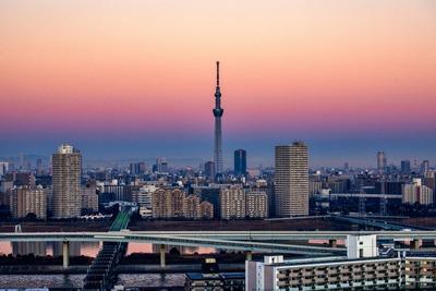朝焼けと東京スカイツリー
