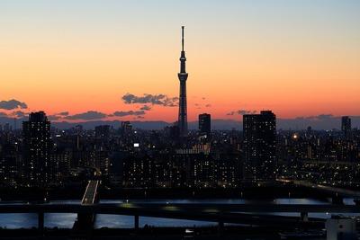 夕景と東京スカイツリー