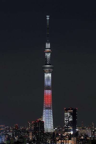 東京スカイツリー夜景「日本国旗」
