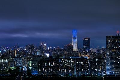 雲に突き刺さる東京スカイツリー