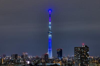 地球をイメージした青色の特別ライティング
