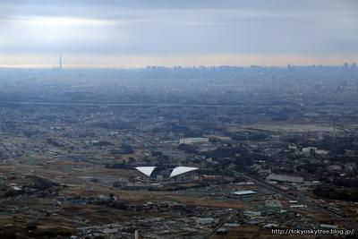 埼玉県上空からの東京スカイツリーの空撮