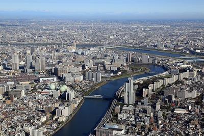 東京スカイツリーから汐入方面の眺め