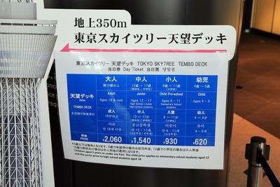 増税後の東京スカイツリーの料金表