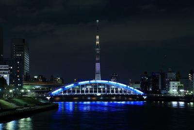 永代橋と東京スカイツリー夜景「ホワイトショコラ」