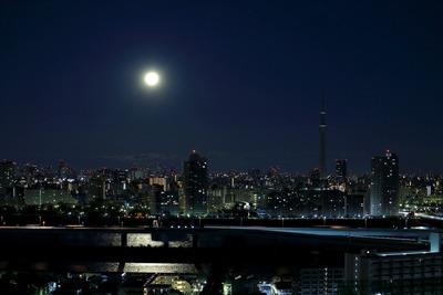 満月と東京スカイツリー