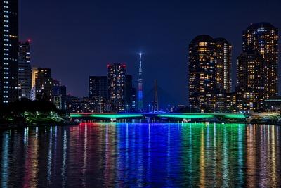 佃大橋と東京スカイツリー