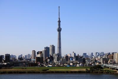 首都高C2から曳舟のタワーマンション群と東京スカイツリー