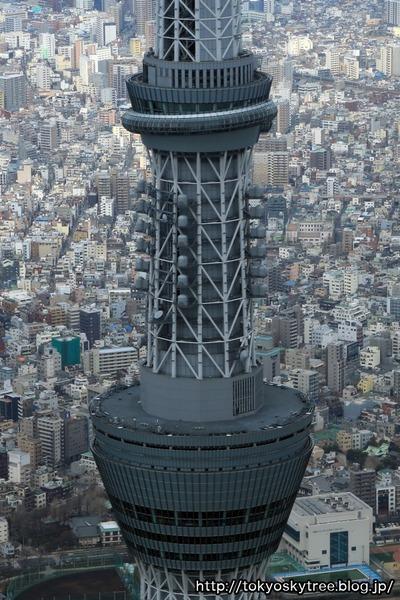 東京スカイツリーの展望台部分の空撮