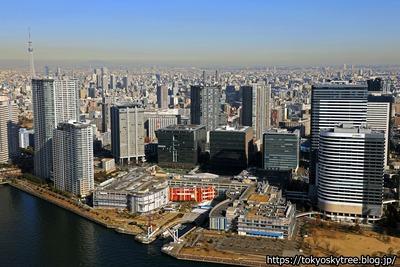 豊洲と東京スカイツリーの空撮