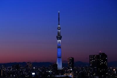トワイライトタイムの東京スカイツリー夜景「冬粋」