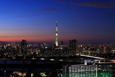 夕焼けと東京スカイツリー夜景