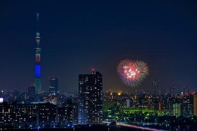 江東区民祭り亀戸地区夏まつり大会の花火と東京スカイツリー