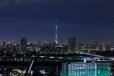オリンピックシンボルの5色による特別ライティング