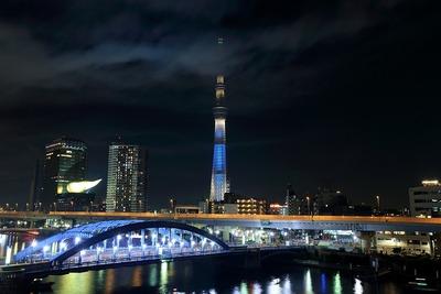 花火終了後の東京スカイツリー