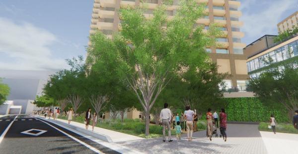 柏駅西口北地区市街地再開発事業 第一小学校前の敷地内歩行空間整備イメージ