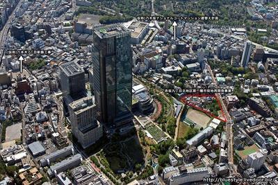 赤坂九丁目北地区第一種市街地再開発事業方面の空撮