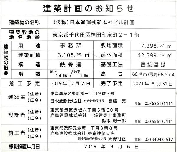 (仮称)日本通運(株)新本社ビル計画 建築計画のお知らせ