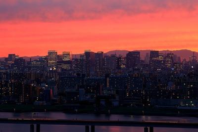 東京駅方面の夕焼け
