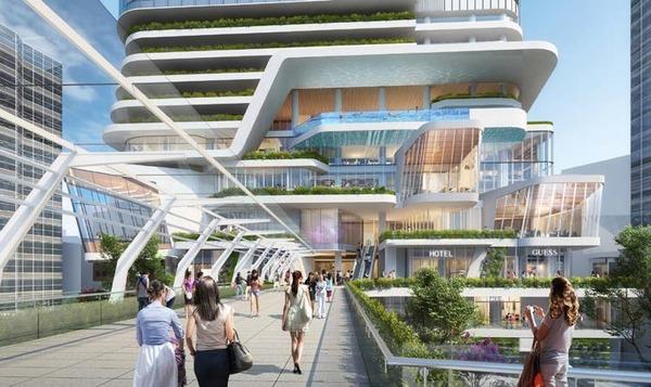 (仮称)渋谷二丁目西地区第一種市街地再開発事業 A街区から見た青山通り横断デッキ(B街区方向)