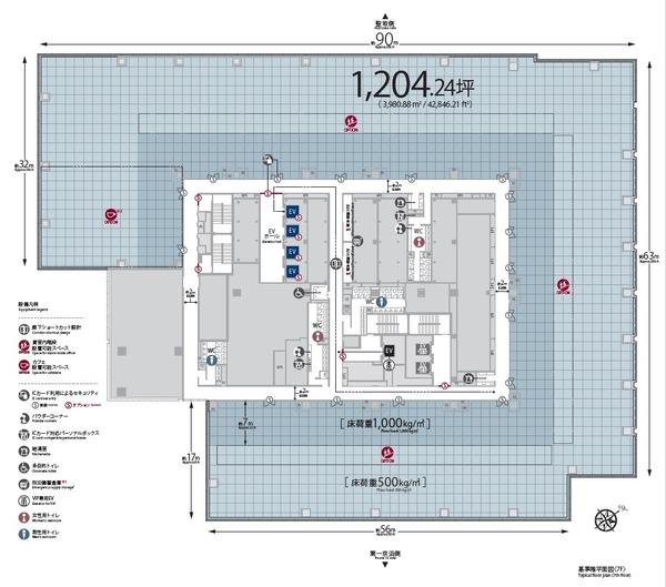 東京三田再開発プロジェクト 基準階平面図(7F)