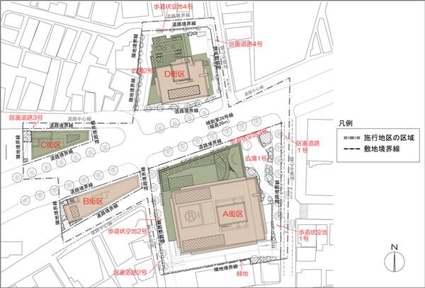 大山町クロスポイント周辺地区第一種市街地再開発事業 配置図