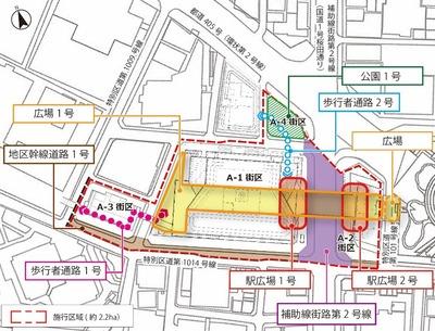 虎ノ門一・二丁目地区第一種市街地再開発事業 配置図