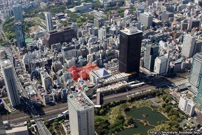 浜松町二丁目C地区再開発の計画地の空撮