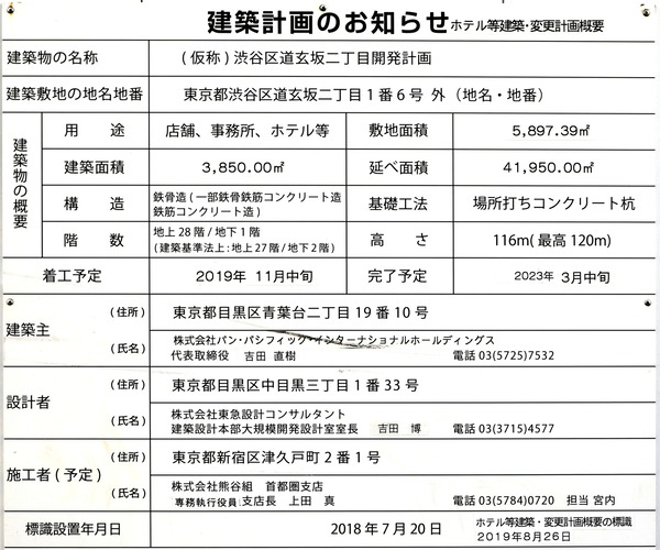 (仮称)渋谷区道玄坂二丁目開発計画  建築計画のお知らせ
