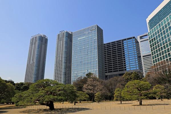 浜離宮恩賜庭園から見た汐留の超高層ビル群