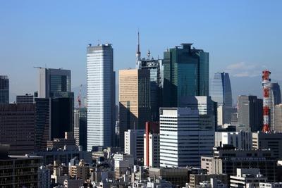 リバーシティ21新川から見た汐留の超高層ビル群