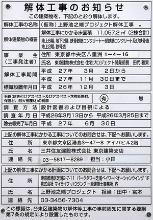 (仮称)上野池之端プロジェクト 解体工事のお知らせ