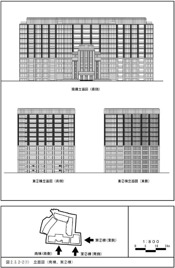(仮称)三田一丁目計画 立面図(南棟、東�棟)