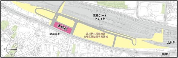 東京都市計画事業泉岳寺駅地区第二種市街地再開発事業 位置図