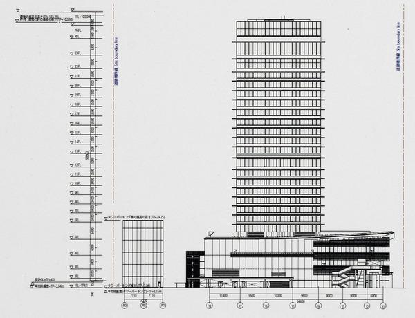 ウェスティンホテル横浜 南側立面図