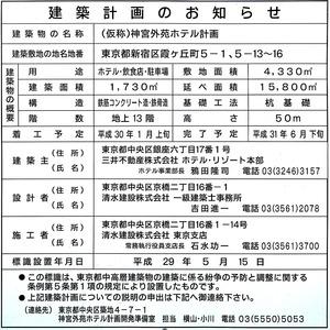 (仮称)神宮外苑ホテル計画 建築計画のお知らせ
