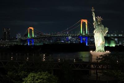 東京五輪開催記念特別ライトアップ レインボーブリッジ