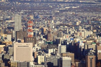 三角山からさっぽろテレビ塔