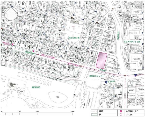 (仮称)新宿区四谷4丁目計画 案内図