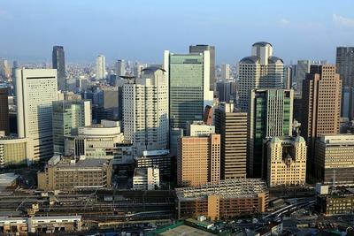 梅田スカイビルから見た旧大阪中央郵便局・梅田3丁目計画(仮称)