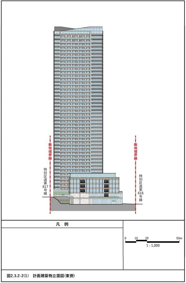 (仮称)赤坂七丁目2番地区再開発事業 計画建物立面図(東側)